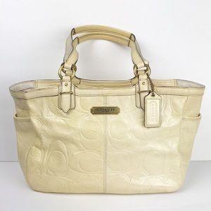 Coach cream patten leather satchel